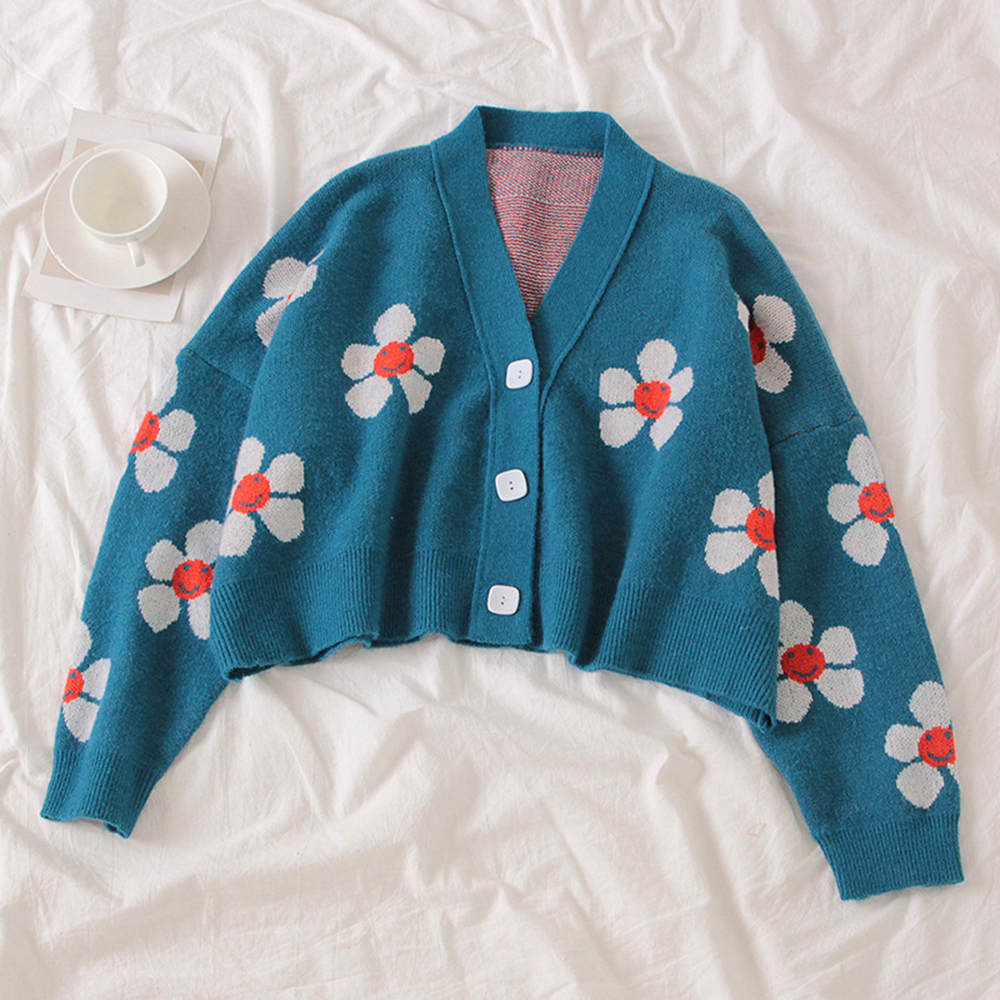 Preppy Style Flower Knit Cardigans Sweater Women V Neck Loose elegaht Thicked Pull Femme Print Short Casual Coat