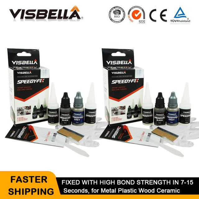 Visbella 2Pcs 7วินาทีSpeedy Fix Quick Bondingกาวผงสำหรับโลหะเหล็กไม้พลาสติกเซรามิคซ่อมกาวเสริม