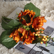 4pcs Artificial Sunflower Bouquet For Diy Wedding Party Decoration Flower Home Hand-Held