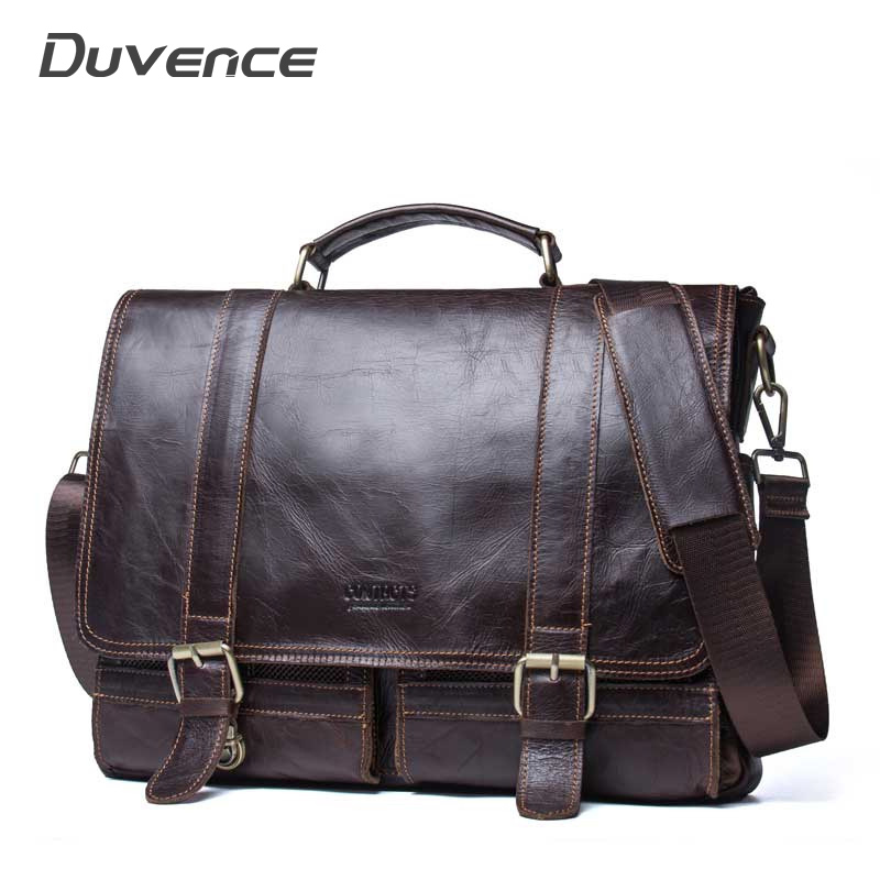 15 Inches Genuine Leather Men Shoulder Bag Briefcase Handbags Travel Large Bags For Man Laptop Briefcases Flap Pocket Man Bags