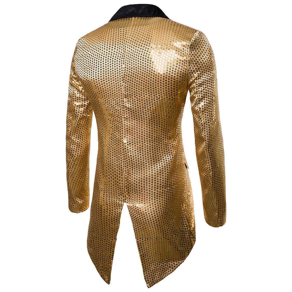 Bruiloft Bruidegom Goud Zilver Rood Zwart Sequin Slanke Blazers Mannen Tailcoat Stage Prom Dress Kostuums Pak Jassen 2019 Drop Shipping