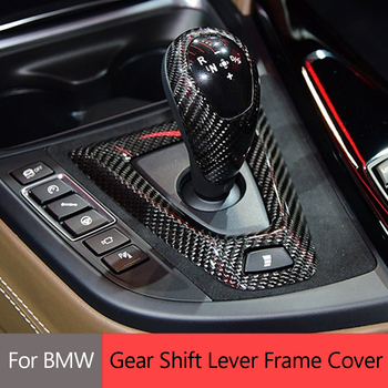 Real Carbon Fiber For BMW M2 F87 M3 F80 M4 F82 F83 M5 F10 F85 F86 Gear Shift Knob Cap &Base Cover Trim Sticker Accessories image