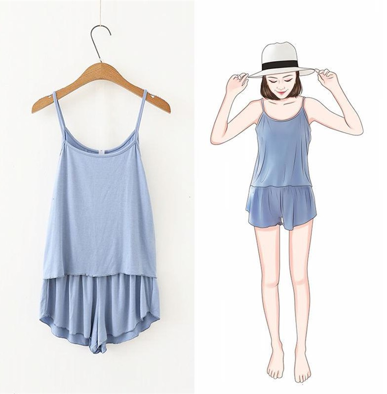 Korean-style Summer New Style Camisole + Shorts WOMEN'S Suit Home Two-Piece Set Solid Color Student Pajamas