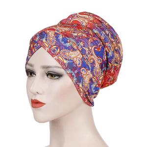Paisley Flower Women Soft Sponge Muslim Hijab Turban Hat Chemo Cap Headwrap