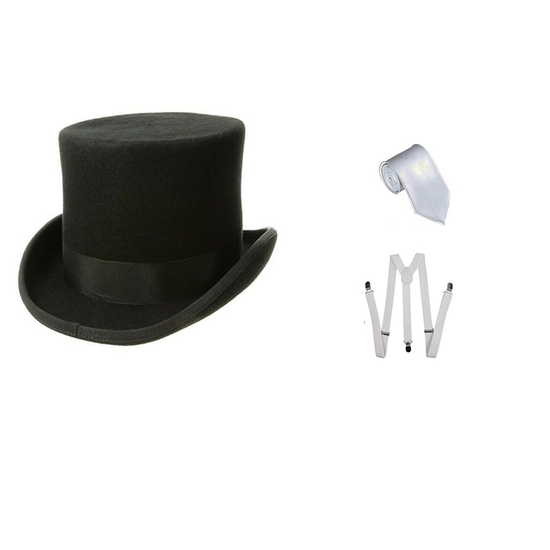 Women Men 1920s Costumes Accessories Black Gangster Hat White Black Red  Braces Tie Fancy Dress Accessory