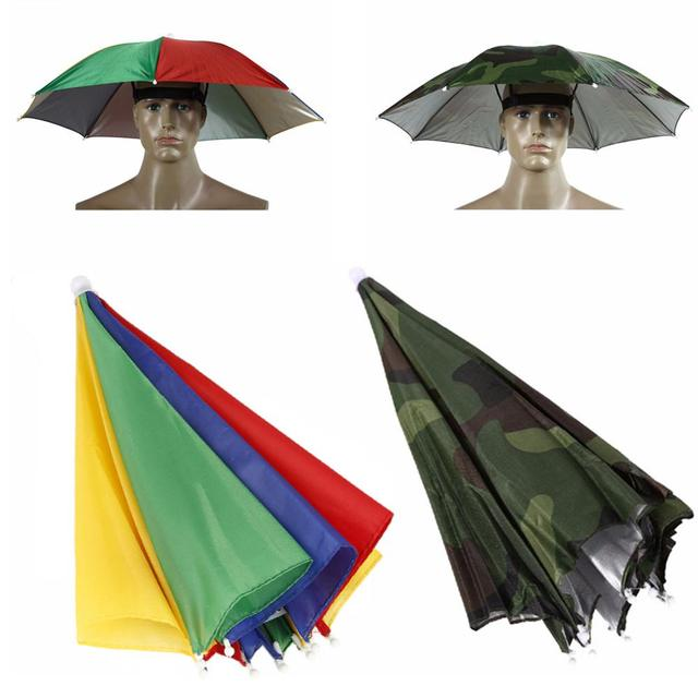 Fishing Cap Outdoor Sport Umbrella Hat Hiking Camping Headwear Cap Head Hats Camouflage Foldable Sunscreen Shade Umbrella Hat 2