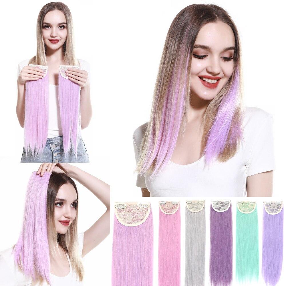 Накладные волосы на заколке цветные прямые розовые фиолетовые зеленые натуральные синтетические волосы Накладные заколки накладные шиньо...