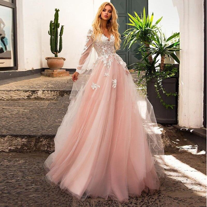 Eightale Pink Wedding Dress Long Sleeve Appliques Lace Wedding Gowns Custom Made Boheimian A-Line V-Neck Bridal Dress