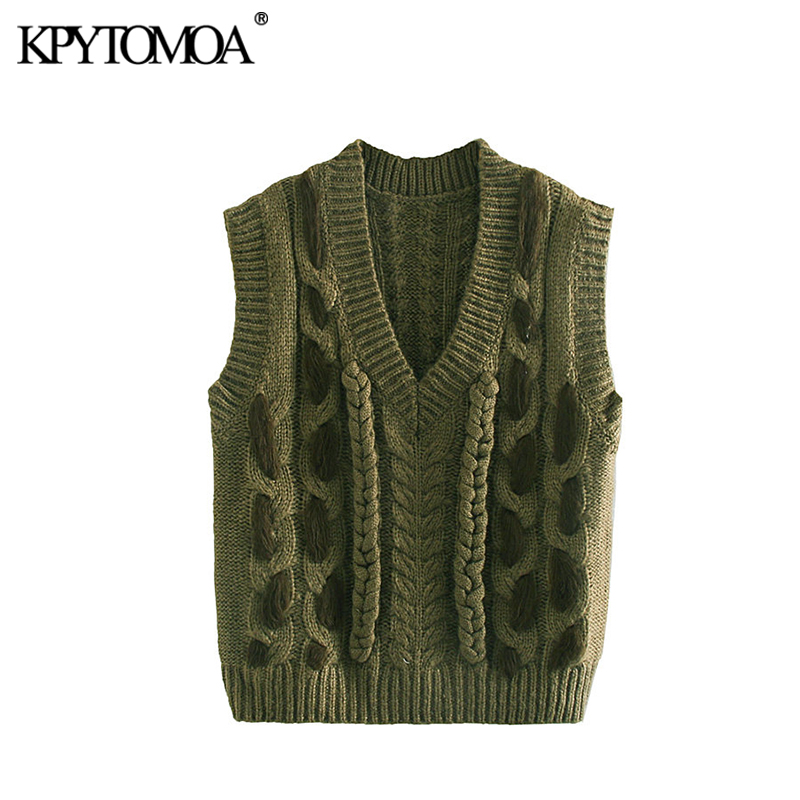 Vintage Sweet Cable Knitted Vest Sweater Women 2020 Fashion V Neck Sleeveless Female Pullovers Chic Tops