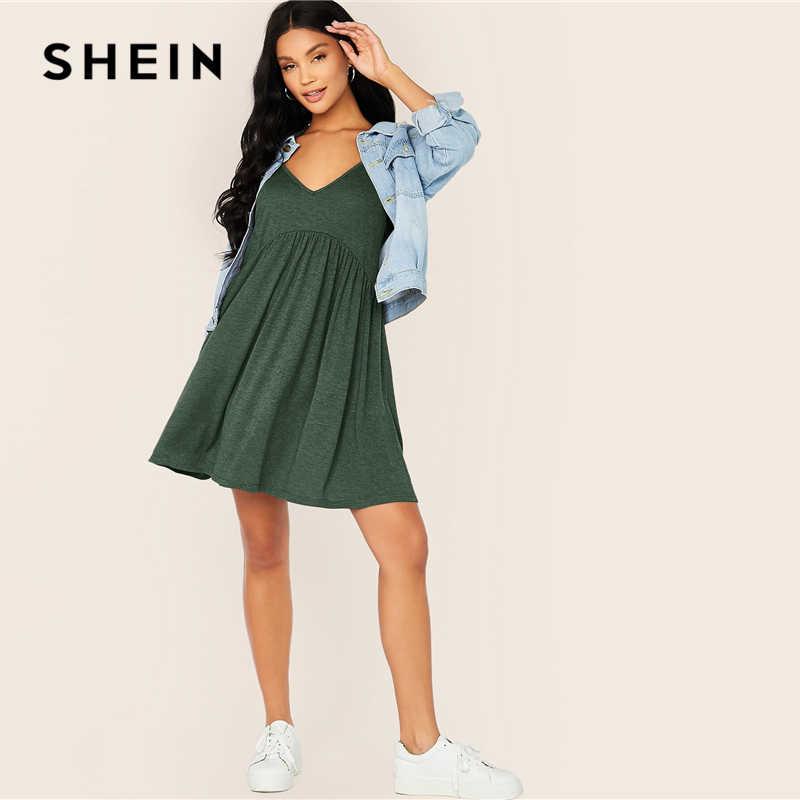SHEIN, однотонное платье на бретельках с перекрестными завязками и высокой талией, женское летнее плиссированное платье с глубоким v-образным вырезом и расклешенным подолом, повседневные короткие платья