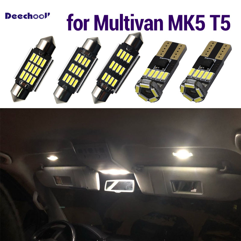 Canbus LED Interior dome lights + license plate lamp bulbs for <font><b>VW</b></font> <font><b>Multivan</b></font> MK5 MK6 for Volkswagen <font><b>T5</b></font> T6 Transporter 03-18 image