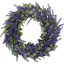 33cm/40cm Artificial Lavender Wreath Garland Wedding Party Front Door Wall Hanging Decor Simulation Phoenix Leaf Wreath Ornament