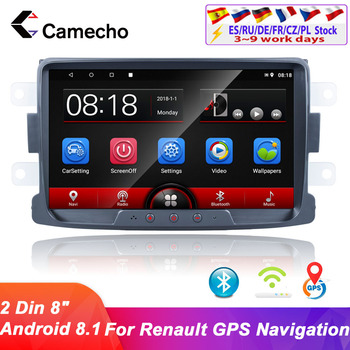 Camecho 2din Android 8.1Car Radio Multimedia Player 9''GPS Autoradio Auto Store For Renault Sandero Logan II Dacia Duster Dokker image