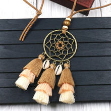Handmade Bohemian Ethnic Tassel Necklaces for Women Long Rope Chain Shell Pendant Necklace Boho Jewelry Clothing Accessories(China)