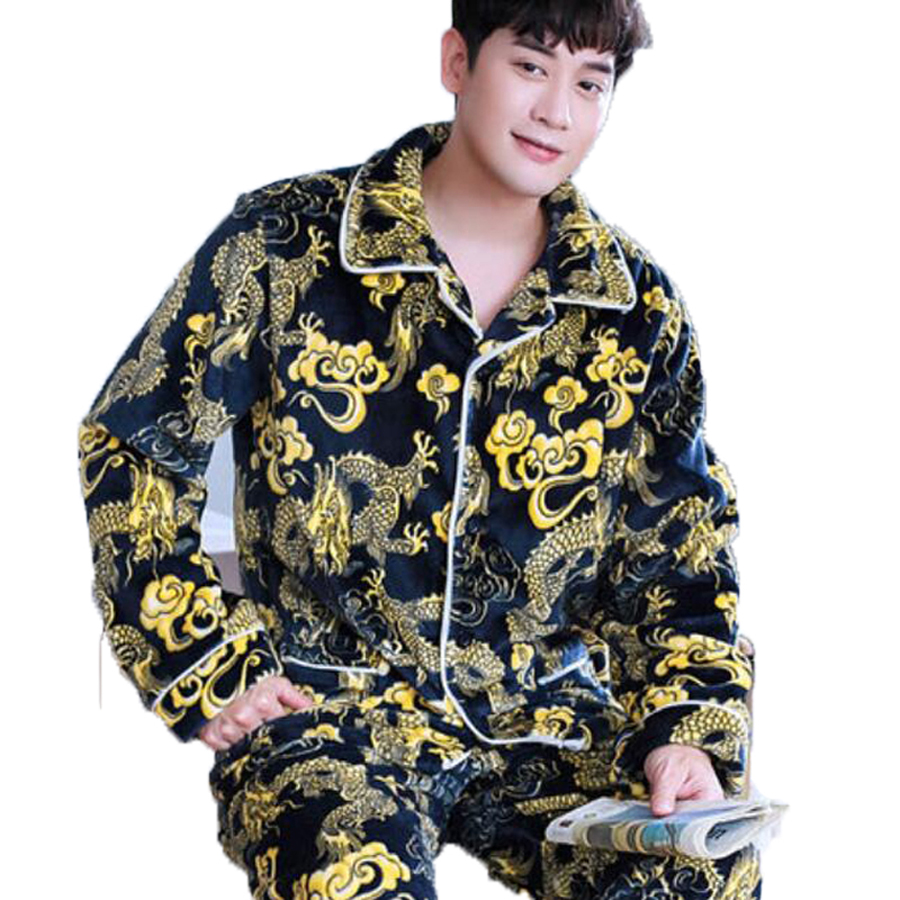 Chinese Dragon Pijama Man Long Sleeve Cardigan Male Pajama Set Men Thick Warm Flannel Pyjamas For Men Sleepwear Suit Homewear
