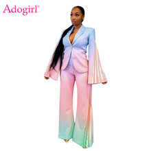 Adogirl Tie Dye Print Changing Color Women Business Suit Pleated Flare Sleeve Blazer Wide Leg Pants Office Lady Two Piece Set