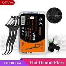 Black Flat Hilo Dental Floss Bamboo Charcoal Tooth Floss pick Interdental Teeth Cleaning Dental Floss Teeth Stick 50pcs/box