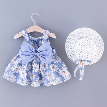 שמלה פרחונית מתוקה לתינוקות+ כובע = 2 חלקים  1