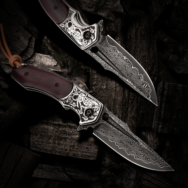 Handmade Folding Knife Damascus Steel Blade Wooden Handle EDC Self Defense Camping Hunting Tactical Pocket Knives with Sheath 3