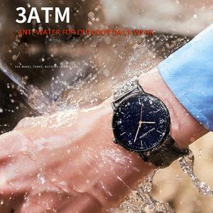 Image 5 - Relogio masculino yaratıcı Ultra ince saatler erkekler tam paslanmaz çelik siyah saat aydınlık arapça Timepiece su geçirmez askeri