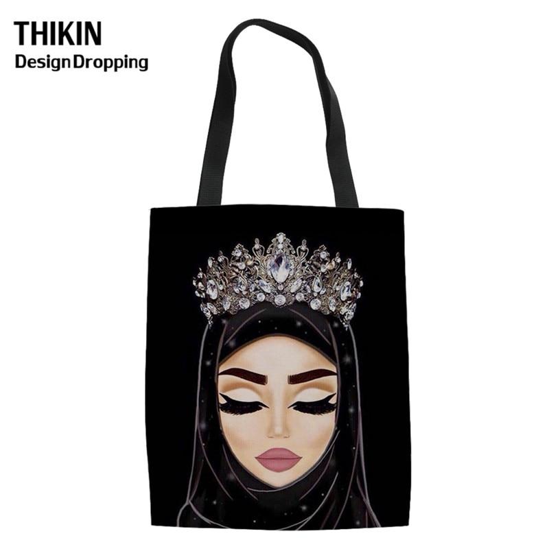 THIKIN Hijab Face Muslim Islamic Gril Eyes Print Casual Linen Tote Ladies Folding Shopping Bag 2019 Women Reusable Shoulder Bags