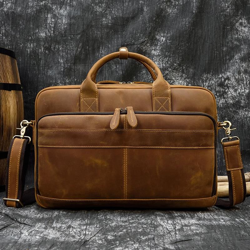 "H55498d99059148529e8eb427ca2111e1m MAHEU Men Briefcase Genuine Leather Laptop Bag 15.6"" PC Doctor Lawyer Computer Bag Cowhide Male Briefcase Cow Leather Men Bag"