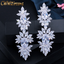 Luxurious Clear CZ Diamond Setting White Gold Plated Long Wedding Drop Dangle Earrings With Marquise Shape Zirconia CZ322 promotion 2016 new earrings water drop shape with big cz rhodium plated women earrings