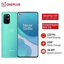 Versão global oneplus 8 t 8 t snapdragon 865 5g smartphone 12gb 256gb 120hz display fluido 48mp quad câmeras 65w carga de urdidura