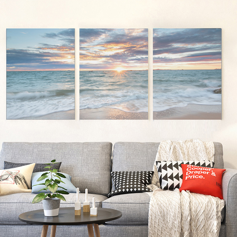 Wall Art Canvas Paintings 3 Panel Seascape Sunset Beach Wave Modular Pictures Printed Poster Living Room Home Decoration Frame