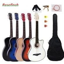 38/41 polegada guitarra folk guitarra acústica, 6 cordas basewood guitarra com mochila pick capo cinta, iniciantes guitarra agt16