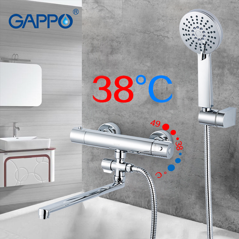 GAPPO Bathtub Faucets Thermostat Shower Mixer Bathroom Water Tap Bathroom Shower Set Faucet Bath Tap Waterfall Mix