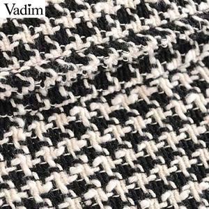 Image 4 - Vadim נשים גדול משובץ טוויד מעיל גדילים כיסי loose סגנון ארוך שרוול מעילי נקבה להאריך ימים יותר חם סיבתי חולצות CA607