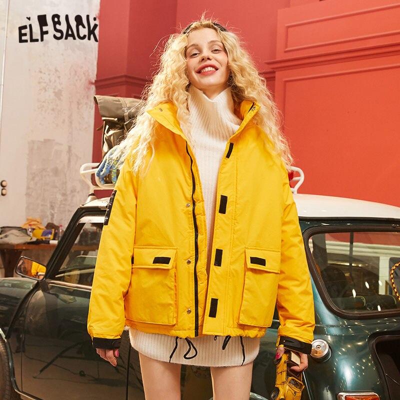 ELFSACK Multicolor Solid Applique Padded Warmness Coat Women 2020 Winter New Pure Zipper Pocket Korean Style Ladies Outwears