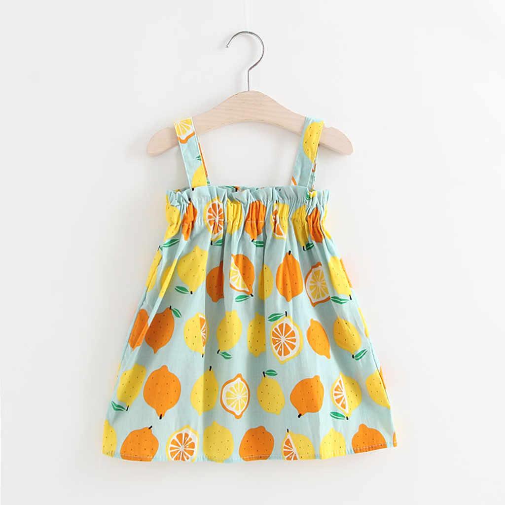 פעוט תינוק בנות שמלת שרוולים לימון הדפסת שרוולים רצועת נסיכת שמלת רצועות סרט מסיבת החוף הקיצי ילדה Dresse