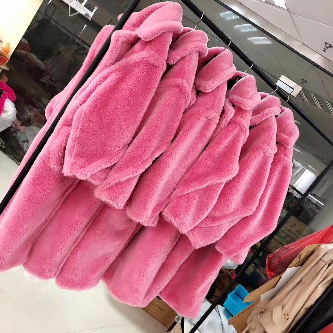 Manteau de fourrure femmes hiver Super chaud 100% laine Outwear surdimensionné ours en peluche icône manteau rf0166 - 6