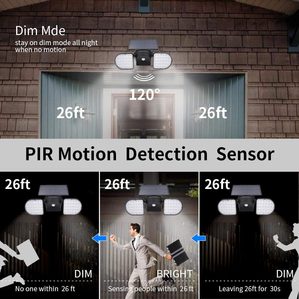 Image 3 - Solar Lights Outdoor 56 LED Solar Wall Lights with Motion Sensor Dual Head Spotlights 360° Adjustable Solar Motion LightsSolar Lamps   -