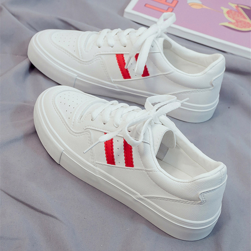 Leather Shoes Woman 2019 New Fashion Casual Platform Striped Leather Classic Cotton Women Casual White Vulcanized Shoes Sneakers