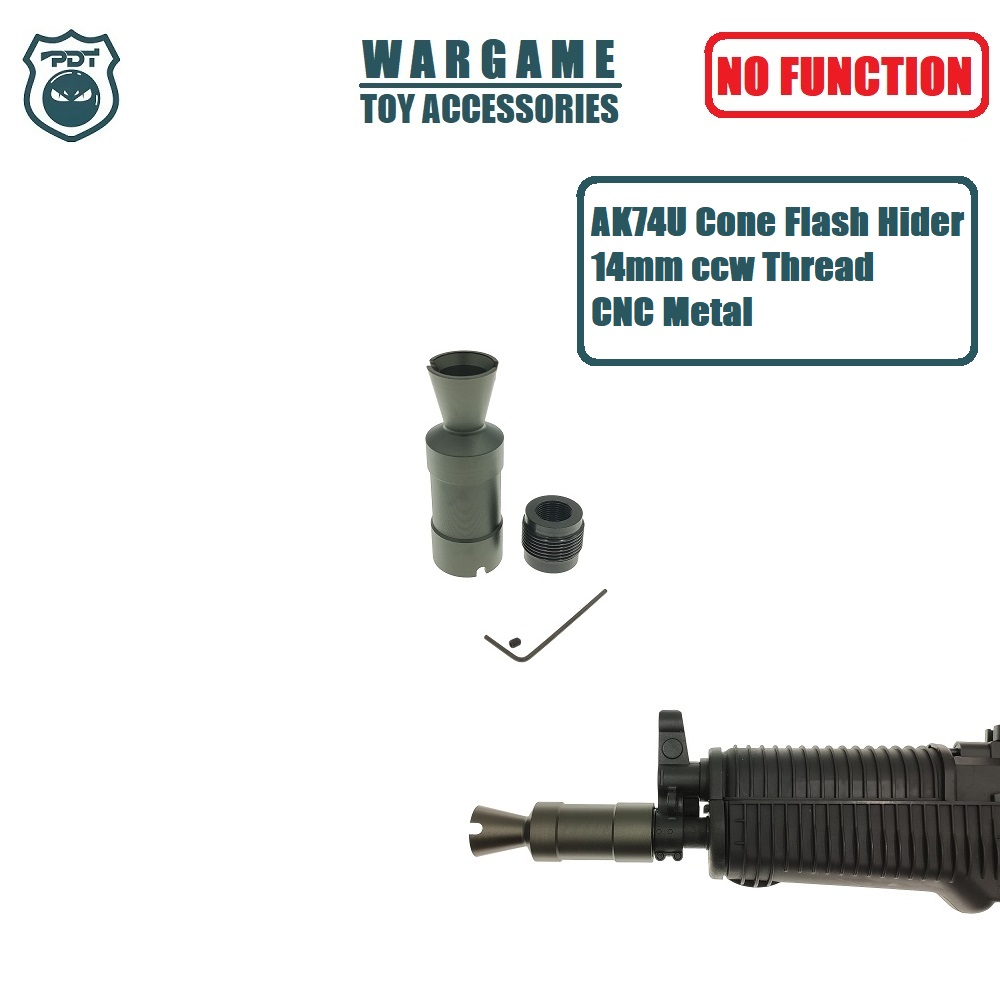14MM CCW Thread AKS74U AK 74U Cone Flash Hider NO Function Muzzle Device For Gel Ball Blaster Airsoft  AEG