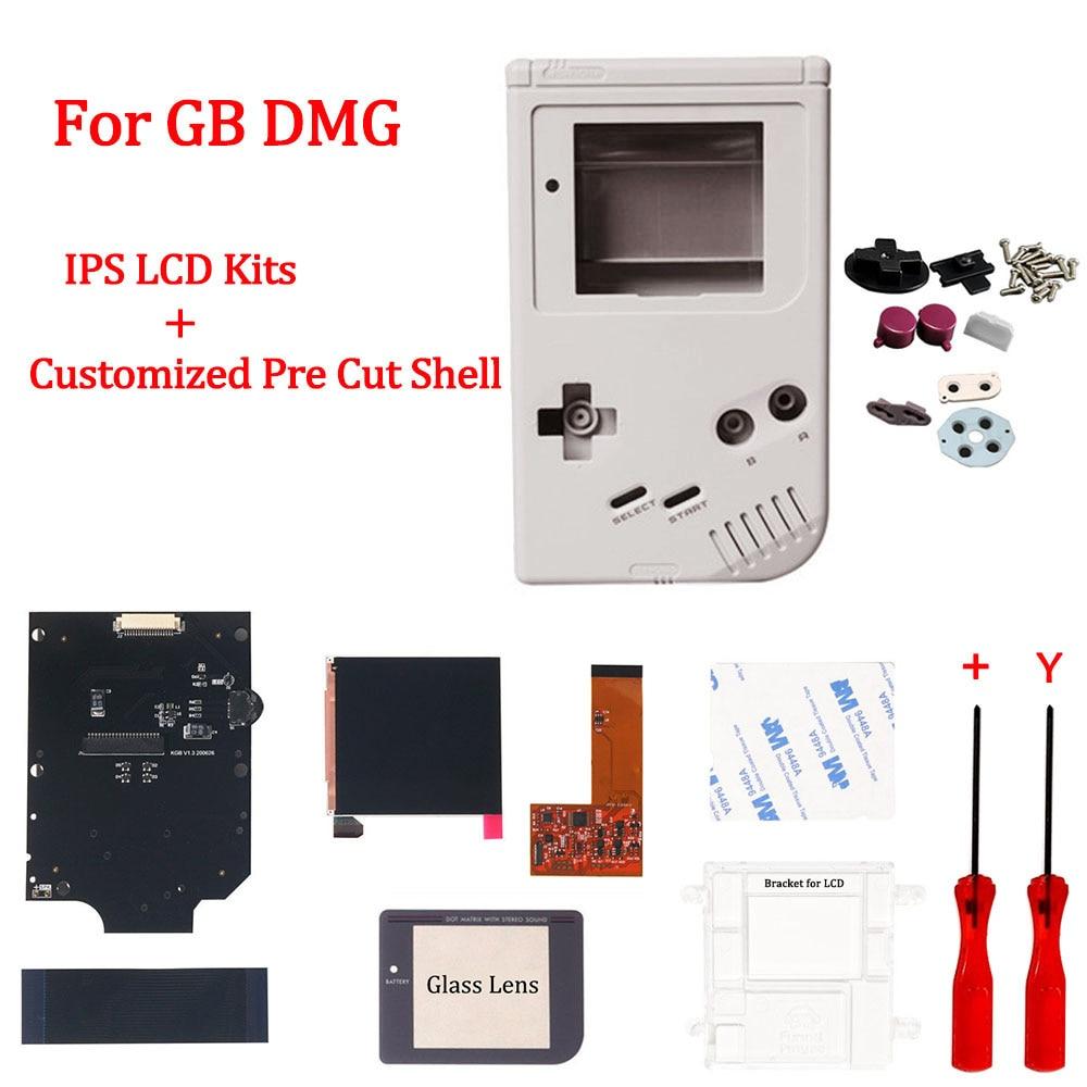Juegos de pantalla LCD IPS de GB con carcasa de vivienda personalizada IPS para GameBoy GB DMG, 36 colores Retro, retroiluminación con carcasa