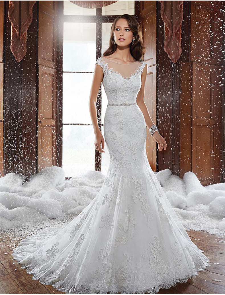 2018 New Lace Mermaid Appliques Vestido De Noiva Casamento Sexy See Through Crystal Bridal Gown Mother Of The Bride Dresses