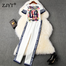 Runway Woman Pants and Top Set Summer New Fashion Office Lad