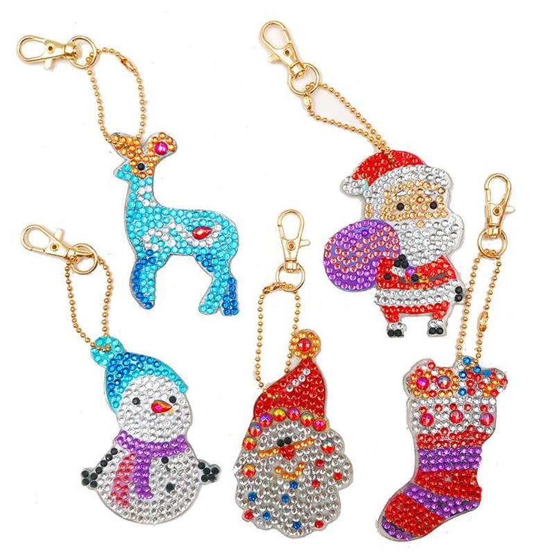 5D DIY Navidad taladro completo forma especial diamante pintura llavero decoración de Navidad bolsa colgante llaveros joyería llavero regalo