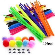 Pompons colorés en Chenille, 100 pièces, tiges en peluche, jouets pour enfants, poupée pour enfants, matériel artisanal, nettoyeurs de tuyaux, artisanat d'art à faire soi-même