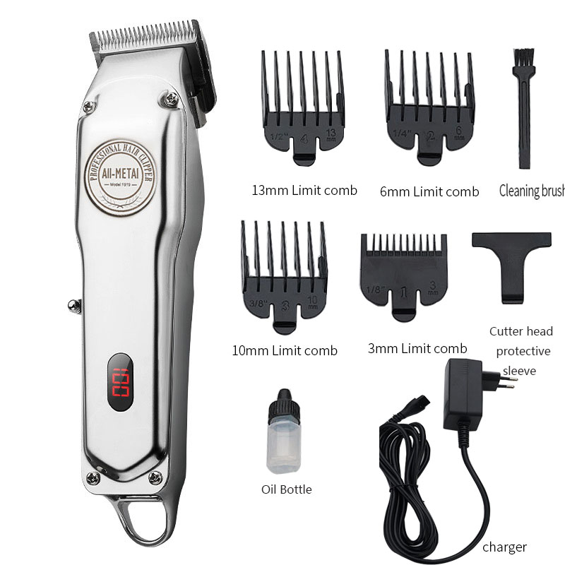 Professional Hair Trimmer Rechargeable Hair Clipper Cordless All Metal Hair Cutter Shaver Men's Beard Shaver Machine
