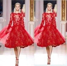 Элегантный красный кружева с длинным рукавом vestido де феста высокое качество чай длина Винтаж-line партии платья мать невесты Платья