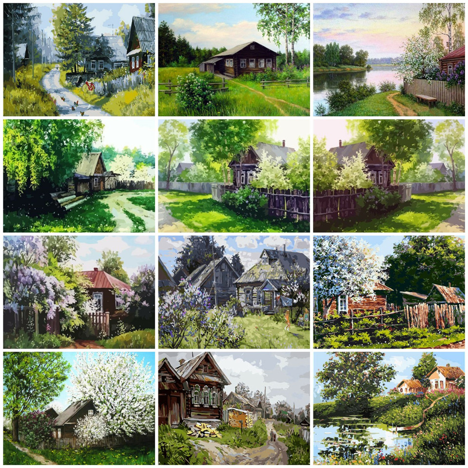 AZQSD Painting By Numbers House Pictures Oil Painting By Numbers Landscape Acrylic Oil Painting HandPainted  Home Decor Gift