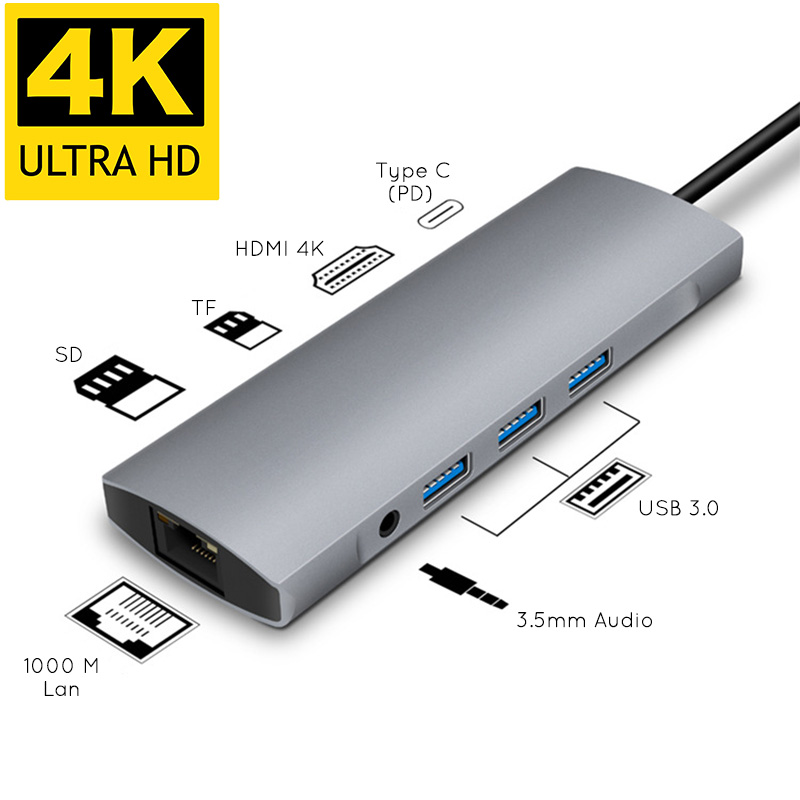 USBC Type C Hub 3 USB 3.0 4K HDMI PD charge 1000M Lan Gigabite Ethernet Rj45 TF carte SD Slot 3.5mm Port Audio pour Macbook