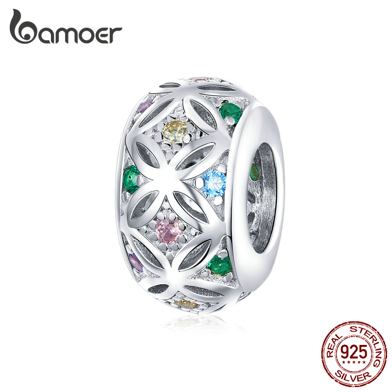 Bamoer Easter Series Real 925 Sterling Silver Colorful CZ Spacer Charm For Bracelet Bangle DIY Jewelry Handmade Bijoux BSC224