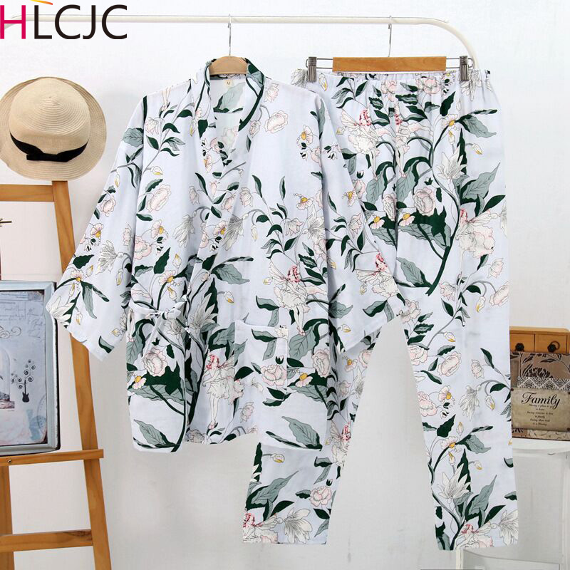 Pyjama Femme Japanese Kimono Robes Women Fresh Lily Print Cotton Gauze   Pajamas     Sets   Simple Robes   Set   For Women Pijama Mujer