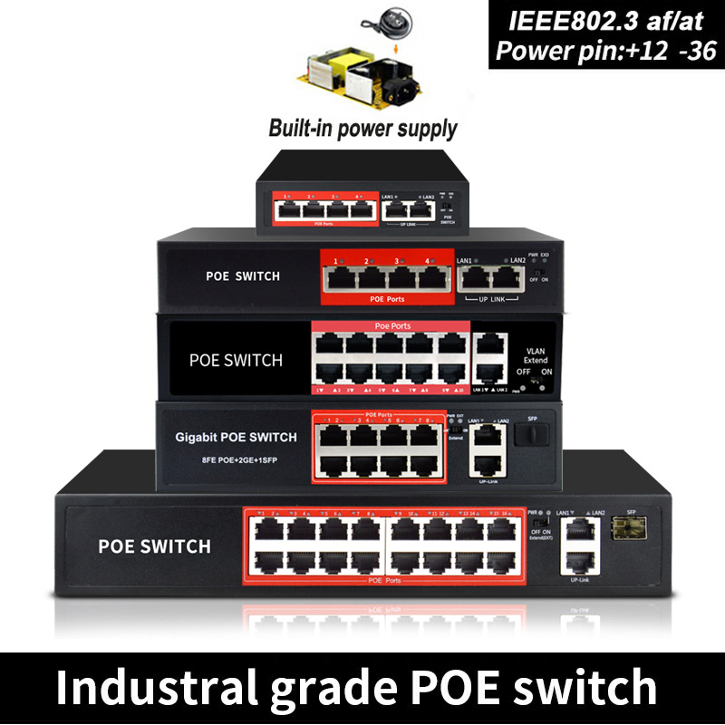 48V 90W POE Switch Ethernet With 6 RJ45 Network Ports IEEE 802.3 Af/at  Protocol Suitable For CCTV Camera System/Wireless AP